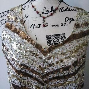 Cache Gold Sequins dress